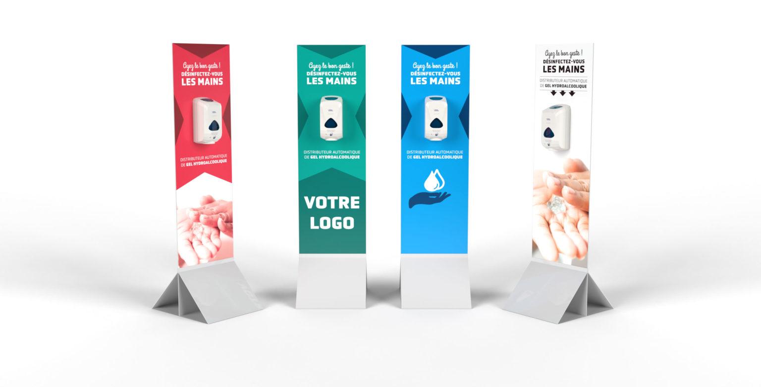 Totem distributeur de gel hydro alcoolique